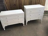 Stunning solid oak chest of drawers sideboards antique shabby chic white chalk