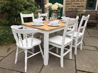 Dining Table & 4 or 6 Chairs ~ £295 or £345 ~ Pine Farmhouse