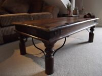 Lovely Midsize Sheesham Solid Wood Industrial Coffee Table. Iron & Hardwood. Two Available. £35 ONO
