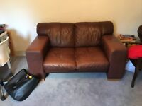 Two Seater Brown Leather Sofa - DFS Italian Style. Collection in Marshfield