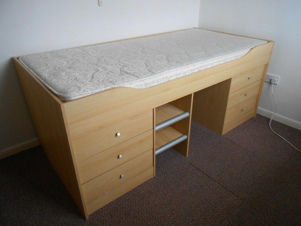 Childs bed with mattress and 6 built in drawers for Single bed with drawers and mattress