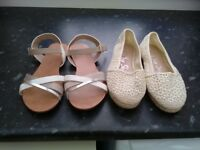 Two pairs of ladies flat shoes size 6.