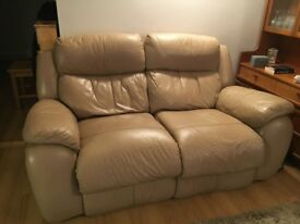 2 & 3 seater reclining beige sofas