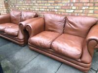 Chesterfield style Thomas Lloyd brown leather sofa PAIR