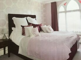 Feather and Black King Size Regency Bed in Plum Velvet