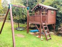 5' x 5' Jellytot Tower Playhouse With Swing & Sandpit