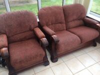Hardwood 2 seater and chair