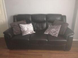 2 & 3 Seater Sofa, Black Leather (LIKE NEW)