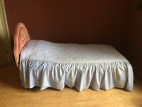 Single divan bed with pillow, mattress, mattress protector, duvet, duvet cover, etc