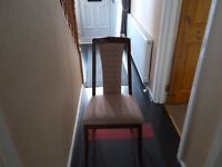 4 solid wooden fabric dinning room chairs ex condition. Must collect