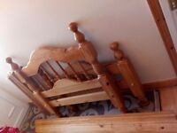 Real pine wood single bed