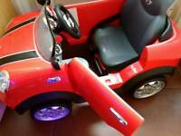 Kids mini cooper push along car