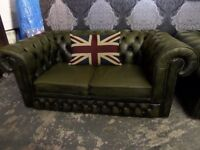 Stunning Vintage Chesterfield 2 Seater Low Back Club Sofa 30 Years Old Green Leather - UK Delivery