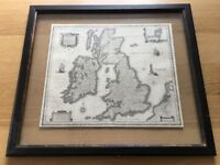 Unusual map pictures in dark wood frame