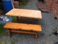 Pine Kitchen Table and Benches