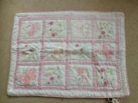Quilted cot blanket with butterflies and flowers