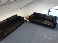 IKEA 'Sater' dark chocolate faux leather sofa x 2