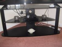 BLACK TV STAND CAN TAKE UP TO 44/46 INCH TV . GOOD COND. COLLECT MOORTOWN LEEDS 17