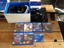 PS4 with VR headset, camera, controller & 6 VR games.
