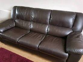 Three Piece Brown Leather Suite (two sofas & reclining chair)