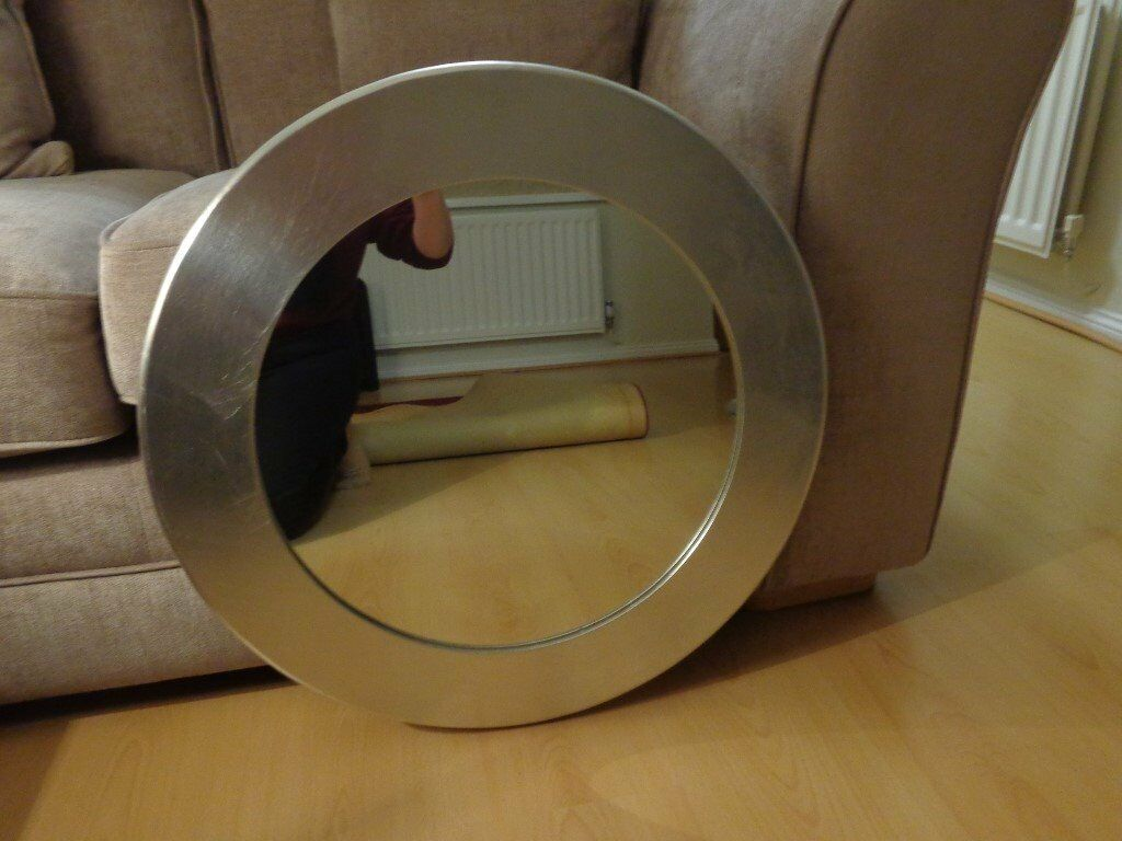 Used Round Mirror With Wide Silver Frame From Debenhams