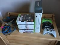Xbox 360, wireless connection, 3 controllers, 12 games