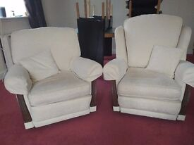 3 seater cream sofa with 2 matching armchairs + cushions