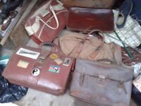 VINTAGE LEATHER BAG AND SATCHELL JOBLOT OLD BUT GOOD CONDITION CARRY CASE BRIEFCASE