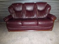 Beautiful Mahogany Brown Full Leather 3-seater Sofa with matching Electric Recliner Chair