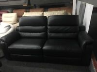 New/Ex Display LazyBoy High Grade Black Leather 3 Seater Recliner Sofa