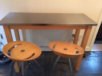Stainless steel topped breakfast bar table with two stools from John Lewis