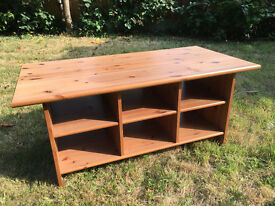 Solid Pine Coffee Table with Six Compartments