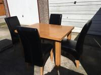Extending Dining Table & 4 Chairs Solid Wood