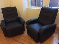 2 Real Leather Reclining Chairs - very good condition