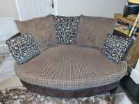 Large sofa, cuddle chair and foot stool £15