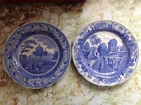 "X2 Spode Plates 10"" 'Caramanian' / 'Italian Church'."