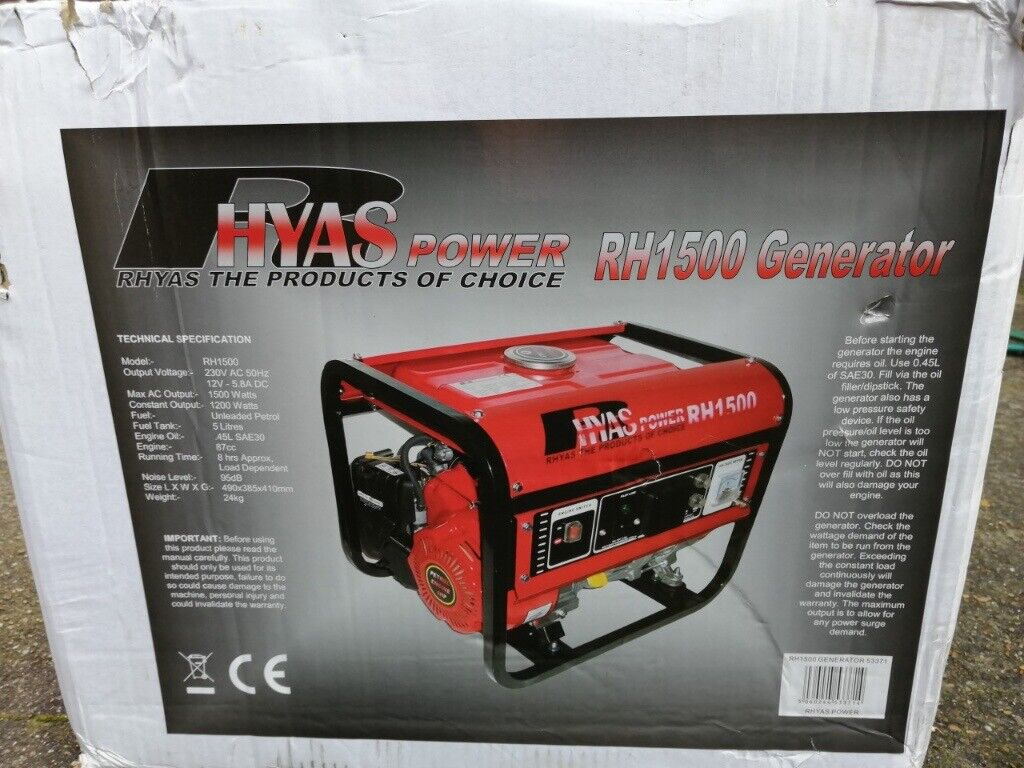 Petrol Generator RHYAS POWER RH 1500 * NEW UNUSED * Call 07366584235 | in  Blackheath, London | Gumtree