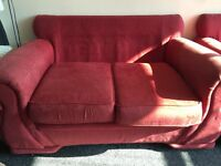 Red fabric sofas - 2