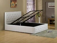 BRAND NEW DIAMANTÉ DOUBLE LEATHER OTTOMAN STORAGE BED FRAME WITH DEEP QUILTED MATTRESS (4FT6)