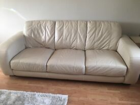 3 seater and 2 seater cream leather matching sofas