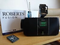 Roberts Fusion DAB/FM Digital Sound System with Retractable Dock for iPod/iPhone - Like New
