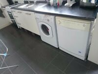 Kitchen units, washer dryer, gas cooker, dishwasher, sink