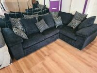 EX DISPLAY LIKE NEW 4 SEATER BLACK FABRIC CORNER SOFA RRP £1399!!! FREE DELIVERY