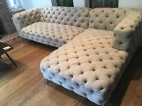 Two button studded sofas, excellent condition