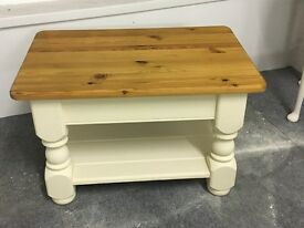 Gorgeous coffee table finished in clotted cream with natural wood top