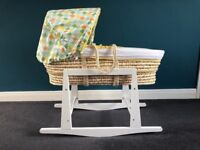Mothercare Moses Basket + My Child Rocking Moses Basket Stand