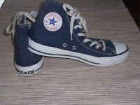 Converse All Star hi top, lace-up navy canvas trainers/baseball shoes, size 8