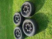 4 Tyres 185 60 14. With VW 4 x 100 rims