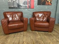 SET OF TWO RETRO LEATHER SOFA ARMCHAIRS IN EXCELLENT CONDITION FREE DELIVERY