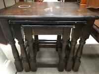 Solid oak nest of tables FREE DELIVERY PLYMOUTH AREA